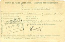 734/25 - Chemins De Fer AVIS DE RECEPTION Gare D' ETTERBEEK 1910 Vers LIMAL - Stamped Stationery