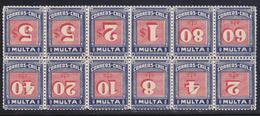 Cile 1924 Tasse  Serie Cpl 11 Val.+1 Yv. 39-49 + 49  Blocco Di 12 CENTRO ROVESCIATO Gomma Integra MNH ** - Chili