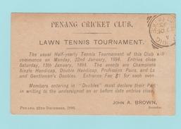 OM.6 INDE Entier Postal Repiqué  Penang Cricket Club.  Tennis Tournament.  Penang 28 Dec 93. (verso= Défectueux) - India