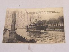 P Carte Postale Belgique Selzaete Le Nouveau Canal Et Poteau Indiquant Le Frontière Hollando Belge 1916 - Belgique
