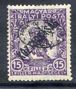 HUNGARY OCC. Of DEBRECEN 1919 Overprint On 15f War Charity With Köztarsasag Overprnt MH / *.  Michel 63 - Debreczen