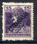 HUNGARY OCC. Of DEBRECEN 1919 Black Overprint On 15f Karl With Köztarsasag Overprint MH / *.  Michel 57b - Debreczen