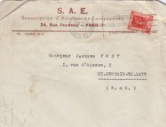 FRANCE- LETTRE S.A.E. SOUSCRIPTION ASSURANCES EUROPEENNES PARIS 5.XI.1936 POUR ST GERMAINE EN LAYE S&O  /6 - 1921-1960: Modern Tijdperk