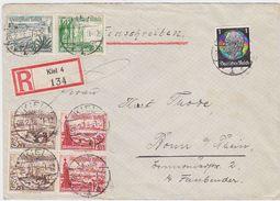 GERMANY 1938 REG.COVER KIEL TO BONN BOOKLET STAMPS FRANKING - Otros