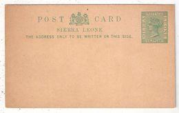 SIERRA LEONE - Entier Postal - Postal Stationery - Entero Postal - Victoria Half Penny - Sierra Leone (...-1960)
