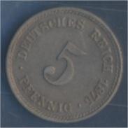 Deutsches Reich Jägernr: 3 1875 A Vorzüglich Kupfer-Nickel 1875 5 Pfennig Kleiner Reichsadler (7849162 - [ 2] 1871-1918 : Imperio Alemán