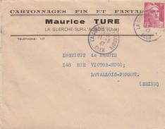 FRANCE- LETTRE CARTONNAGES FIN ET FANTAISIE M. TURE LA GUERCHE-SUR-L'AUBOIS 11.3.47  POUR LEVALLOIS-PERRET  /6 - Postmark Collection (Covers)