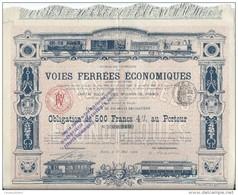 Obligation De 500 Francs 4% Au Porteur/Voies Ferrées économiques /Paris /1900   ACT95bis - Railway & Tramway