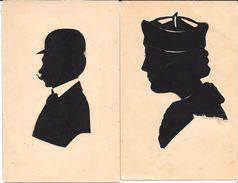 2 CARTES SILHOUETTE De PAPIER DECOUPE (des Manques) HOMME à MOUSTACHE - FEMME AU CHAPEAU Années 1900 - Silhouettes