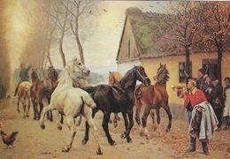 Old Postal Coach  - Postman & Horses - Rural Postman. Paintings  -  3 Cards.  Denmark   # 07331 - Postal Services