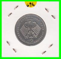 ALEMANIA -GERMANY - MONEDA DE  2.00 DM  AÑO 1990-J KURT SCHUMACHER - [ 7] 1949-… : RFA - Rep. Fed. Alemana