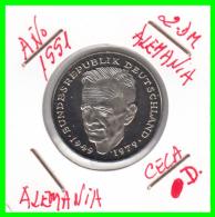 ALEMANIA -GERMANY - MONEDA DE  2.00 DM  AÑO 1991- D-  KURT SCHUMACHER  S/C - [ 7] 1949-… : RFA - Rep. Fed. Alemana