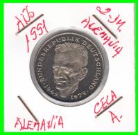 ALEMANIA -GERMANY - MONEDA DE  2.00 DM  AÑO 1991-A   KURT SCHUMACHER  S/C - [ 7] 1949-… : RFA - Rep. Fed. Alemana