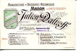 SUISSE.SAINT GALL.MANUFACTURE DE BRODERIES & DENTELLES.JULIEN DALTROFF.ATELIERS A HARLY,LUCY,GOSSAU,BERG,ABTWYL,LUSTENAU - Cartes De Visite