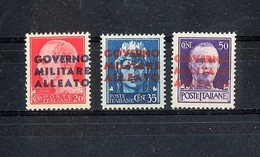 """Anno 1943 - RSI -  Soprastampa """"GOVERNO MILITARE ALLEATO"""" Su Imperiale - Serie Completa - 1900-44 Vittorio Emanuele III"""