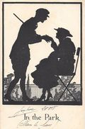 IN THE PARK - COUPLE  -  SILHOUETTE  Ombres Chinoises - 1918  J.W.FAULKNER - LONDON -  SERIES  1616 - Silhouettes