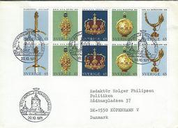 Sweden - Swedish Crown Regalia. SG 659 - 663.  Cover Sent To Denmark.  H-1219 - Arts