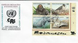Animals.  Endangered Species. Fdc.  United Nations.   H-1220 - Stamps