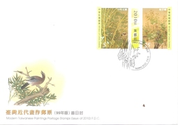 Taiwan Modern Taiwanese Paintings 2010 Birds Bird Painting (stamp FDC) - 1945-... Republic Of China