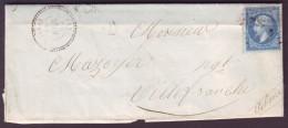 """AIN - LAC - Tàd T22 VONNAS + GC 4322 Sur N° 22 + BR """"D"""" (Mezenat, Identifiée) Pour Villefranche (68) - 1849-1876: Période Classique"""