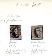 1851  2 X Médaillons N°6, (pl II)  Cote 23 €,  Belles Marges - 1851-1857 Medallions (6/8)