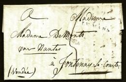 LETTRE PRECURSEUR FRANCE- MARQUES POSTALES- LE MANS- 1820- TAXE 5 DECIMES - 1801-1848: Voorlopers XIX