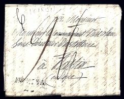 LETTRE PRECURSEUR FRANCE- MARQUES POSTALES- 37 VOIRON- 1800-  TAXES MULTIPLES- 1 BARRÉE- RARE TAMPON CARRÉ- 2 SCANS - 1801-1848: Precursors XIX