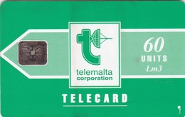 Malta, MT-MLT-0009C, Telemalta Logo With Lm - Green, 2 Scans.    Embossed Control Number: 5 Digits. - Malta
