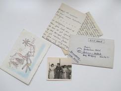 DR / All.Besetzung POW Ägypten. 2 Fotos / Soldatenbilder. Afrika. Weihnachtskarte. 4 Briefe / Inhalt. POW Postal Station - 1939-45