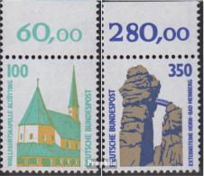 BRD (BR.Deutschland) 1406A-1407A Oberrandstück (kompl.Ausg.) Postfrisch 1989 Sehenswürdigkeiten - Ungebraucht