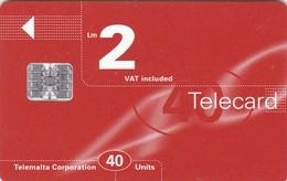 Malta, MT-MLT-0028?, Logo Orange, 2 Scans.    Chip SC7   Orange Printed Control Number: C+8 Digits. - Malta