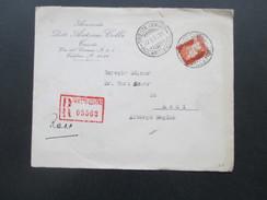 Italien 1937 Trieste Centro Mit Rotem R- Stempel! Nach Rodi Egeo Mit 6 Stempeln!! - Versichert