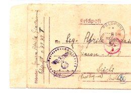 Italie , Carte Prisonnier De Guerre  Italien   En Allemagne 1944 (5) - 1900-44 Victor Emmanuel III