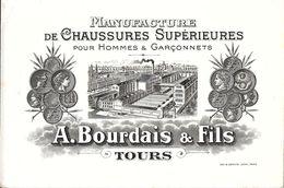 CDV CARTE DE VISITE  MANUFACTURE DE CHAUSSURES A. BOURDAIS & FILS TOURS  + ENVELOPPE DECOREE - Cartes De Visite