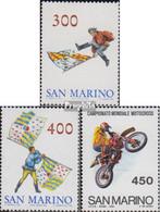 San Marino 1296-1297,1300 (kompl.Ausg.) Postfrisch 1984 Fahnenschwenkergruppe, Motocross - Neufs