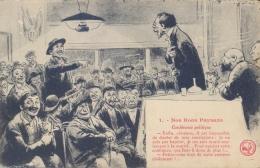 """France Picture Postcard Political Satire """"1 - Nos Bons Paysans Conference Politique"""" Unposted - Satira"""