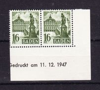 Baden, Mi 6, Schloss Rastatt, Waagrechtes Paar, Druckdatum 11.12.1947, Postfrisch (43843) - Zone Française