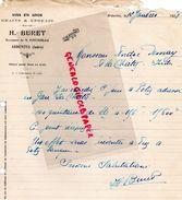 36- ARDENTES- RARE LETTRE MANUSCRITE SIGNEE H. BURET- M. FONTENEAU- MARCHAND DE VINS GRAINS GRAINES- 1928 - Alimentaire
