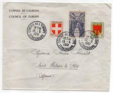 1951-lettre Du Conseil De L'Europe Strasbourg-67 Pour St Hilaire Le Petit-51--Beau Cachet+tp Journée Du Timbre+blasons - Postmark Collection (Covers)