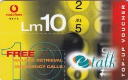 Malta, Vc05, Vodafone - Refill, Etalk - Yellow, 2 Scans. - Malta