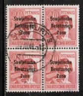 GERMAN DEMOCRATIC REPUBLIC   Scott # 10N 11 VF USED BLK. Of 4 - Zone Soviétique