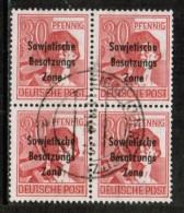 GERMAN DEMOCRATIC REPUBLIC   Scott # 10N 11 VF USED BLK. Of 4 - Soviet Zone