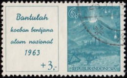 INDONEDIA - Scott #B155 Bali Volcano Disaster Fund Surctaxed / Used Stamp - Volcanos