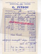 23- GENOUILLAC- RARE FACTURE G. PEYROT -MATERIAUX CONSTRUCTION QUINCAILLERIE FERS CHARBONS-1958 - Petits Métiers