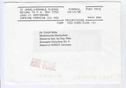 1996 REMAIL COVER From USA Pmk NETHERLANDS PORT PAYE IMPRIME PERMIS From TOXICOLOGY PATHOLOGY Skokie To GERMANY Health - Period 1980-... (Beatrix)
