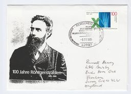 1995 Remscheid GERMANY EVENT COVER Anniv RONTGEN X RAYS Health Radiation Medicine Stamps - Medicine
