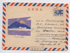 Stationery Used 1968 Mail Cover USSR RUSSIA Ship Baikal Volcano Krasnoyarsk - 1960-69
