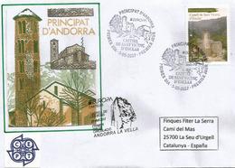 EUROPA 2017 ANDORRA, Château De Sant Vicenç,oblitération FDC Illustrée De La Poste + Correus,sur Lettre Adressée Espagne - Europa-CEPT