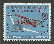PAKISTAN 1969 AIRCRAFT AVIATION FIRST ENGLAND AUSTRALIA FLIGHT SET MNH - Pakistan