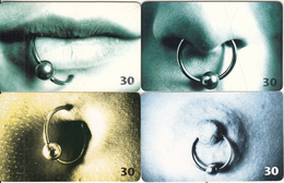 DENMARK(chip) - Set Of 4 Cards, Piercing, 05-06-08/98, Used - Danimarca